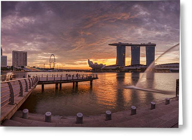 Singapore Greeting Cards - Sunrise Singapore Greeting Card by Colin and Linda McKie