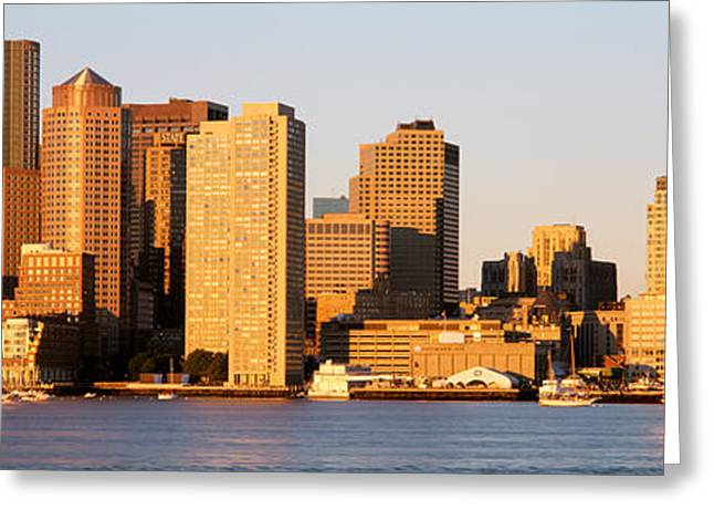 Boston Ma Photographs Greeting Cards - Sunrise, Skyline, Boston Greeting Card by Panoramic Images