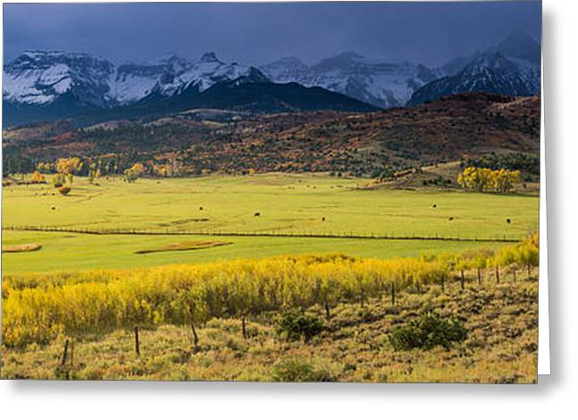 Snow Capped Greeting Cards - Sunrise Sneffels Range Ranch - Colorado Greeting Card by Gary Whitton