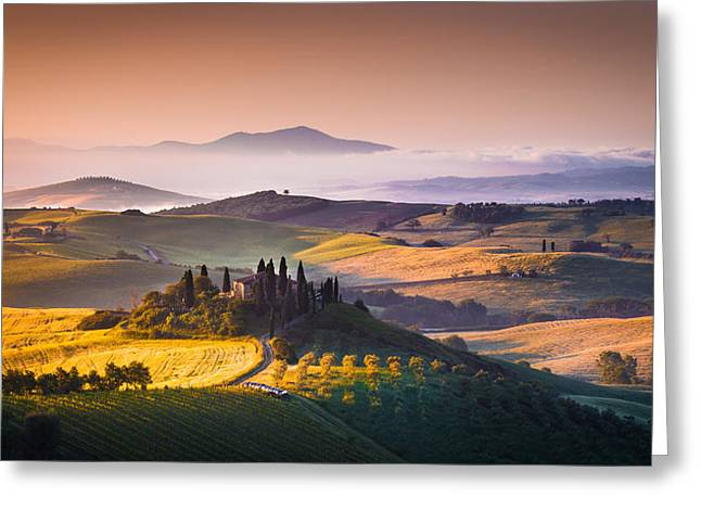 Italian Landscapes Greeting Cards - Sunrise Greeting Card by Stefano Termanini