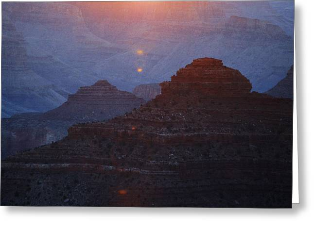 Grand Canyon Photographs Greeting Cards - Sunrise Sunlight over Silhouetted Spires in Grand Canyon National Park Square Greeting Card by Shawn O