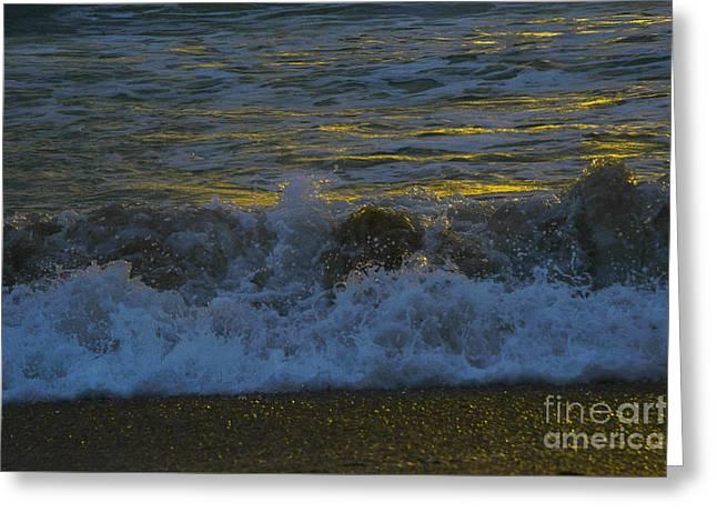 Ocean Art. Beach Decor Greeting Cards - Sunrise Surf Greeting Card by Amanda Sinco