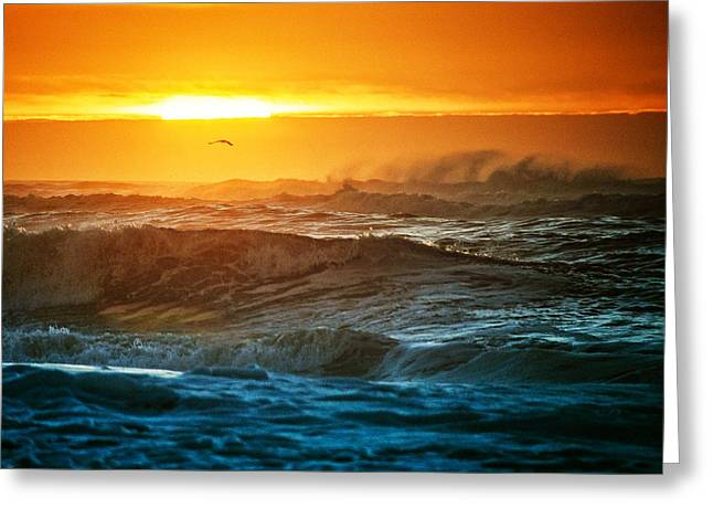 Robert Moses Greeting Cards - Sunrise Surf at Robert Moses Greeting Card by Vicki Jauron