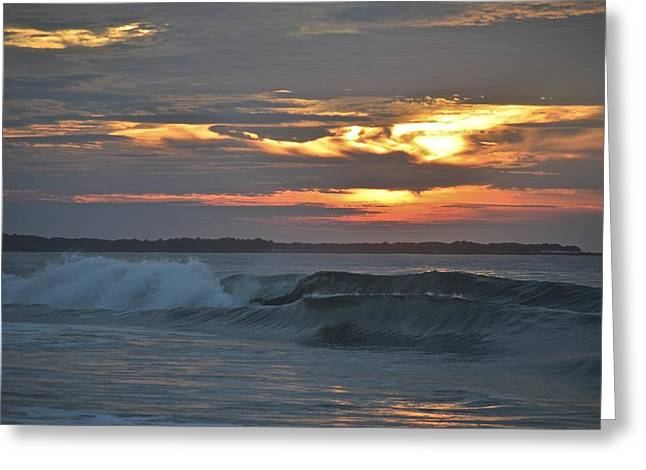 Jerseyshore Greeting Cards - Sunrise Surf Greeting Card by Heather Bodkin