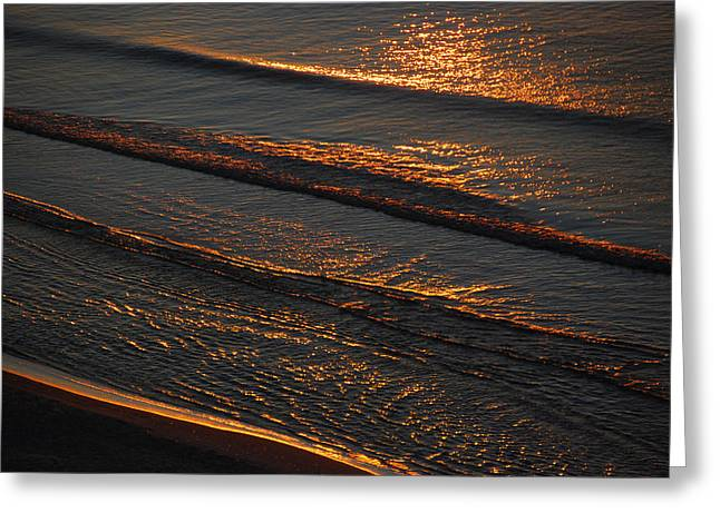Sand Patterns Greeting Cards - Sunrise Surf Greeting Card by Sean Holmquist