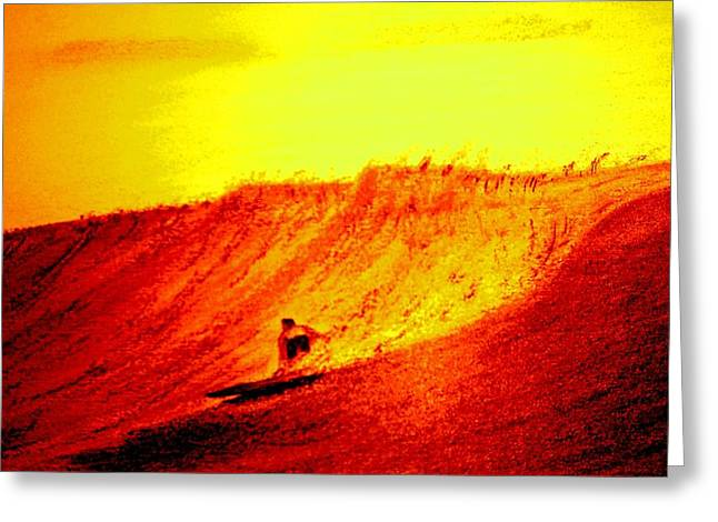 Waves Pastels Greeting Cards - Sunrise Surfing Greeting Card by Ray Ratzlaff