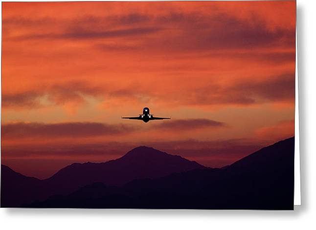 John Daly Greeting Cards - Sunrise Takeoff Greeting Card by John Daly