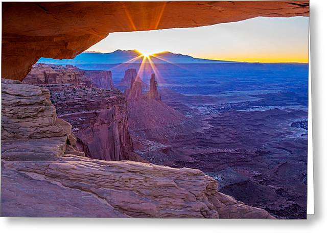 Best Sellers -  - Slickrock Greeting Cards - Sunrise Through Mesa Arch Greeting Card by Nicholas Blackwell