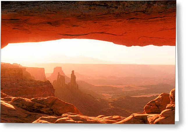 The Natural World Greeting Cards - Sunrise Through Mesa Arch Greeting Card by Panoramic Images