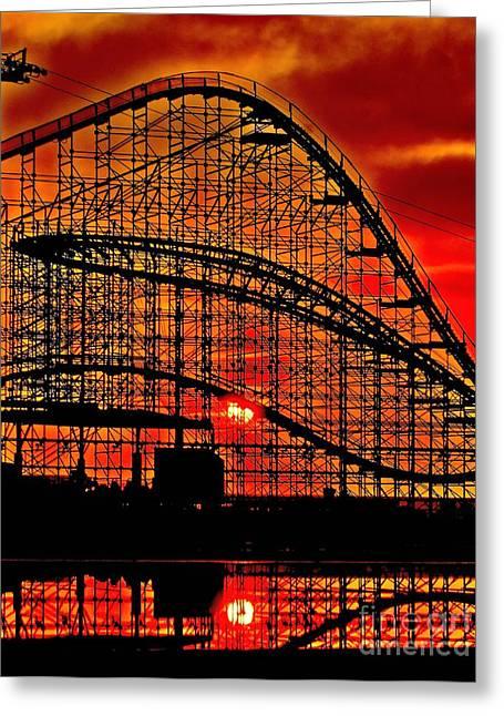 Sunrise Thru The Coaster Greeting Card by Nick Zelinsky