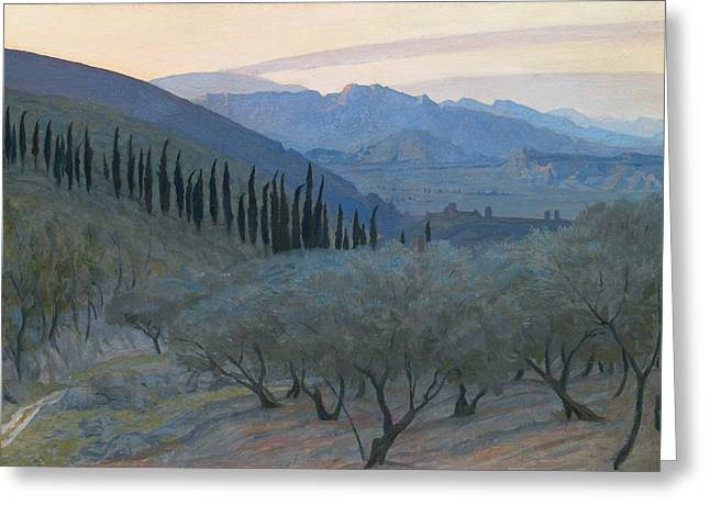 Italian Landscapes Greeting Cards - Sunrise Umbria 1914 Greeting Card by Sir William Blake Richmond