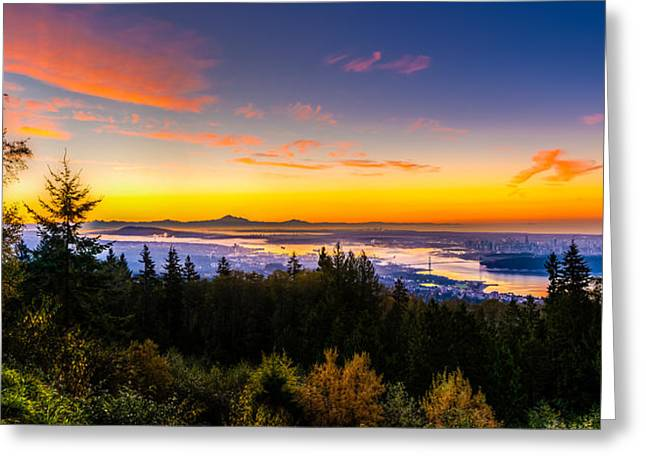 West Vancouver Greeting Cards - Sunrise Vancouver Greeting Card by Ian Stotesbury