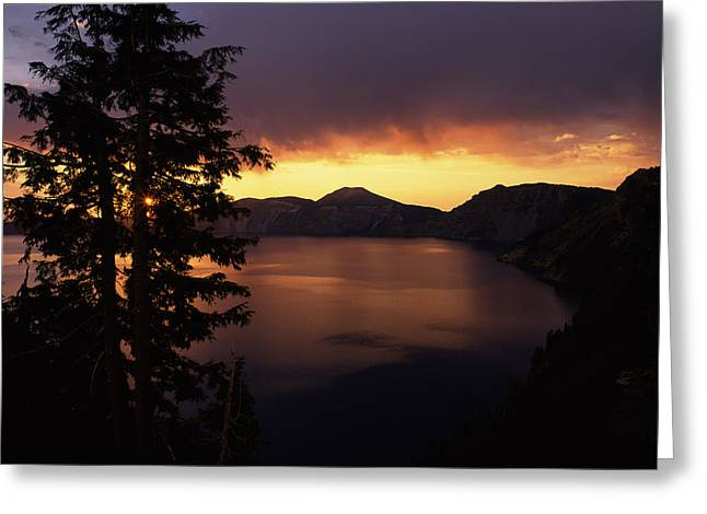 Crater Lake Greeting Cards - Sunrise View From Discovery Point Greeting Card by Panoramic Images