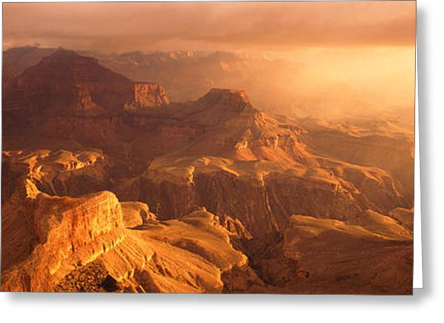 Natural Resources Greeting Cards - Sunrise View From Hopi Point Grand Greeting Card by Panoramic Images