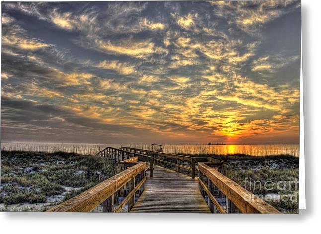 Tybee Island Pier Greeting Cards - Sunrise Walkway on Tybee Island Greeting Card by Reid Callaway