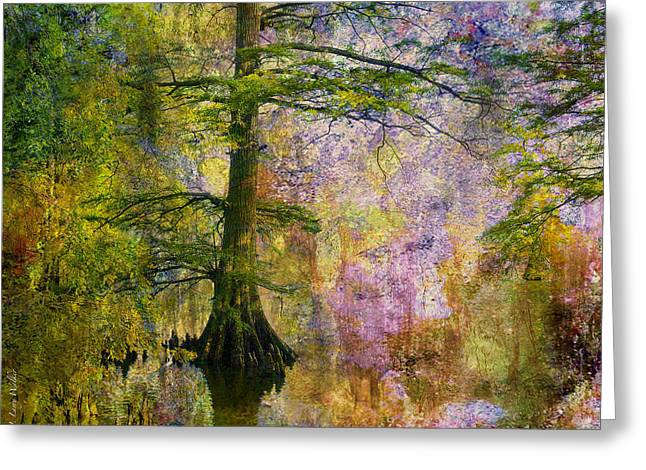 Waterscape Digital Art Greeting Cards - Sunrise Waterscape Greeting Card by J Larry Walker