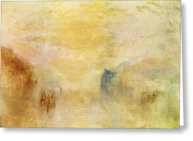 Painter Of Light Greeting Cards - Sunrise with a boat between headlands 1840s Greeting Card by J M W Turner