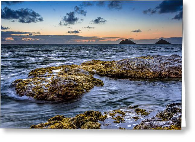 Koolina Greeting Cards - Sunrise with the Mokulua also know as Mokes Island Greeting Card by Tin Lung Chao