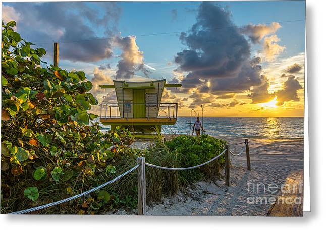 Florida Landscape Greeting Cards - Sunrise Workout Return - Lifeguard Station - Miami Beach Greeting Card by Ian Monk