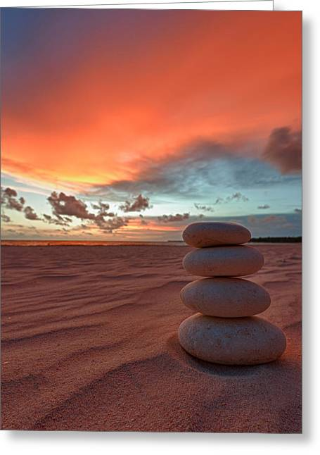 Balance Greeting Cards - Sunrise Zen Greeting Card by Sebastian Musial