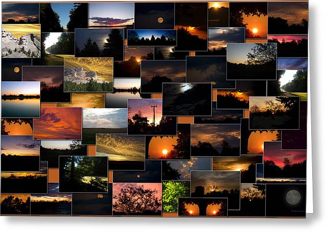 Coller Greeting Cards - SunRises and SunSets Collage Rectangle Greeting Card by Thomas Woolworth