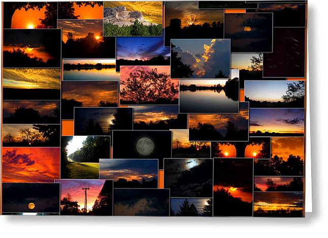 Coller Greeting Cards - SunRises and SunSets Collage Square Greeting Card by Thomas Woolworth