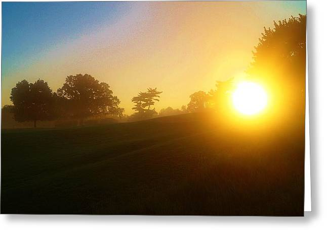Sunrising Over The Club House Greeting Card by Daniel Thompson