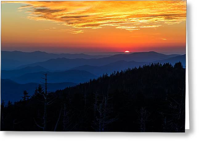 Wallpaper Greeting Cards - Suns last peak over the Blue Ridge Greeting Card by Andres Leon