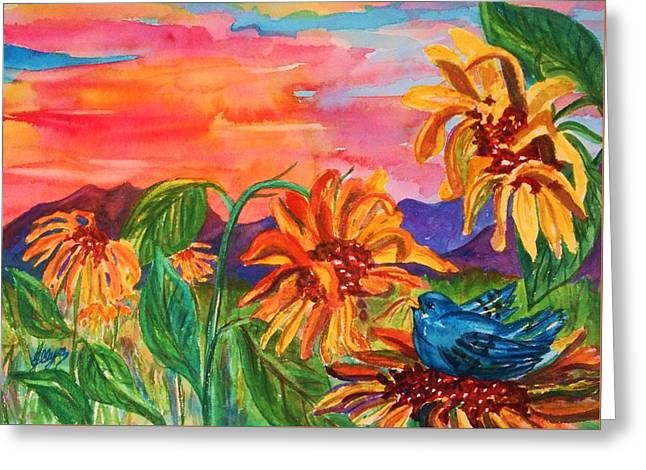 Decorate Greeting Cards - Suns Last Rays Greeting Card by Ellen Levinson