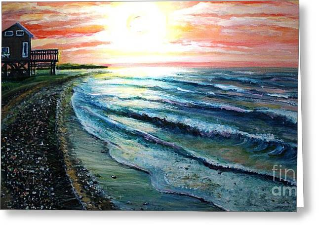 My Ocean Greeting Cards - Suns Up Summer House on Stilts Greeting Card by Rita Brown