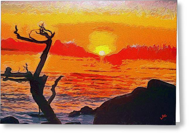 Pfeiffer Beach Digital Art Greeting Cards - Sunset #1 at Big Sur Greeting Card by Laurence Canter