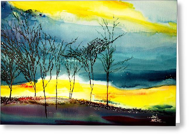 Amazing Sunset Paintings Greeting Cards - Sunset 3 Greeting Card by Anil Nene