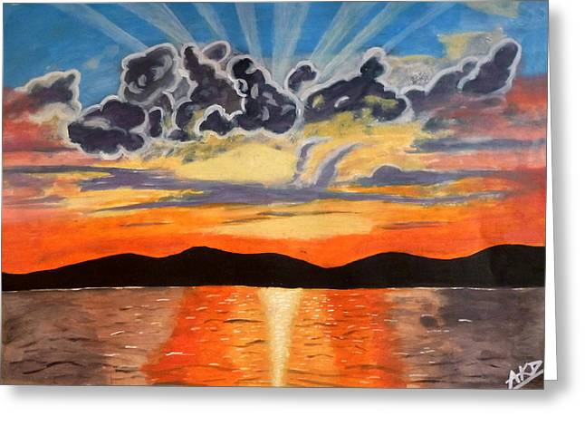 Abhinav Krishna Dwivedi Greeting Cards - Sunset  Greeting Card by Abhinav Krishna Dwivedi