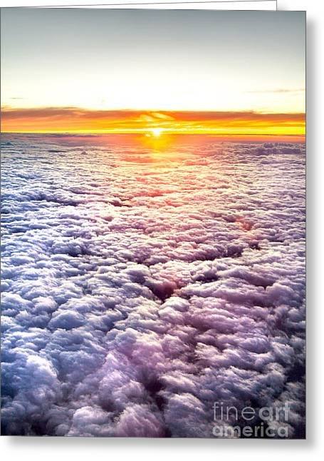 Sunlit Greeting Cards - Sunset Above The Clouds Greeting Card by Az Jackson