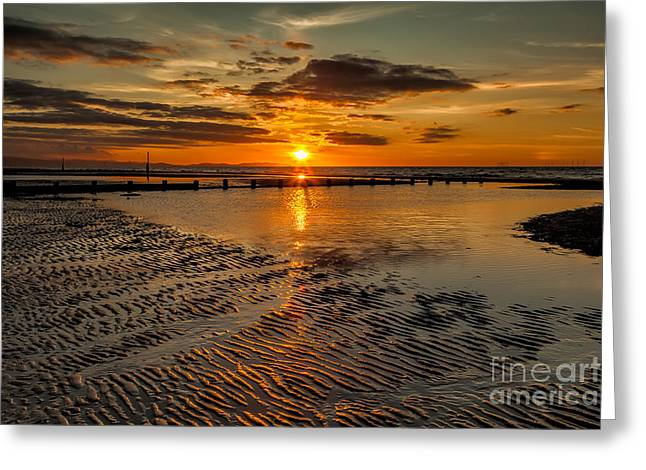 Empty Pool Greeting Cards - Sunset  Greeting Card by Adrian Evans