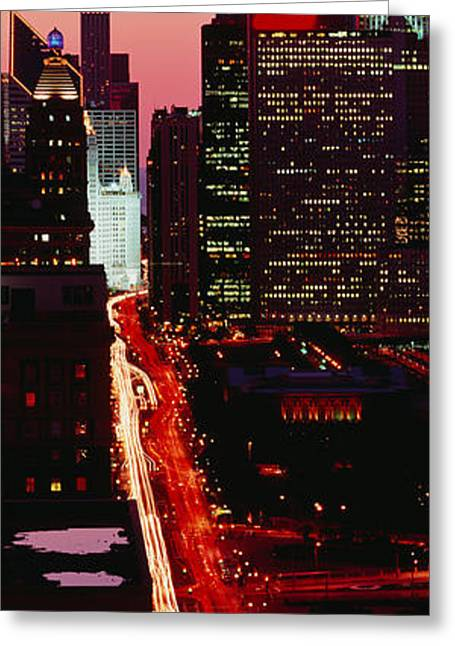 Long Street Greeting Cards - Sunset Aerial Michigan Avenue Chicago Greeting Card by Panoramic Images