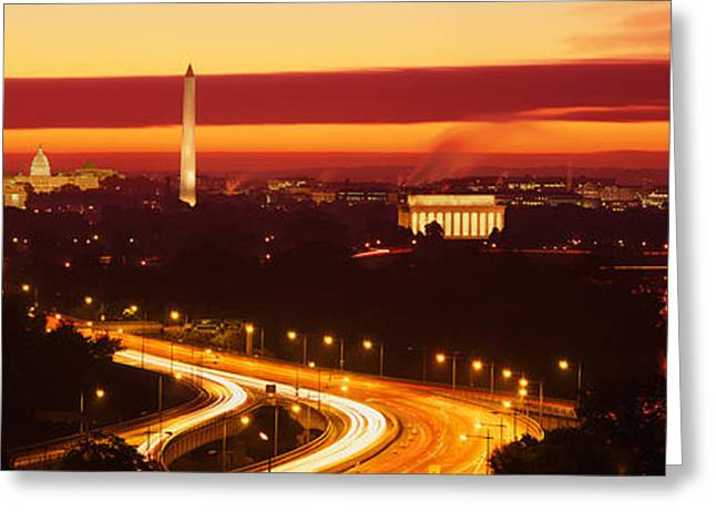 Roadway Photographs Greeting Cards - Sunset, Aerial, Washington Dc, District Greeting Card by Panoramic Images