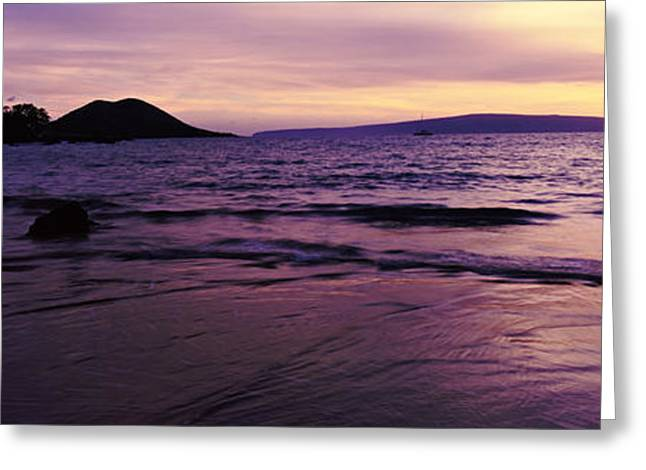 Cliffs Over Ocean Greeting Cards - Sunset Along The Coast, Maui, Hawaii Greeting Card by Panoramic Images