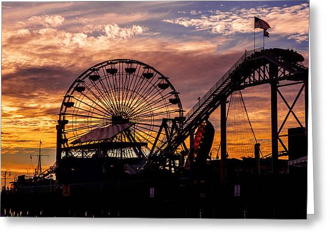 Sunset Prints Greeting Cards - Sunset Amusement Park Farris Wheel On The Pier Fine Art Photography Print Greeting Card by Jerry Cowart