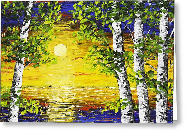 Painted Wood Paintings Greeting Cards - Sunset And Birch Trees Palette Knife Painting Greeting Card by Keith Webber Jr