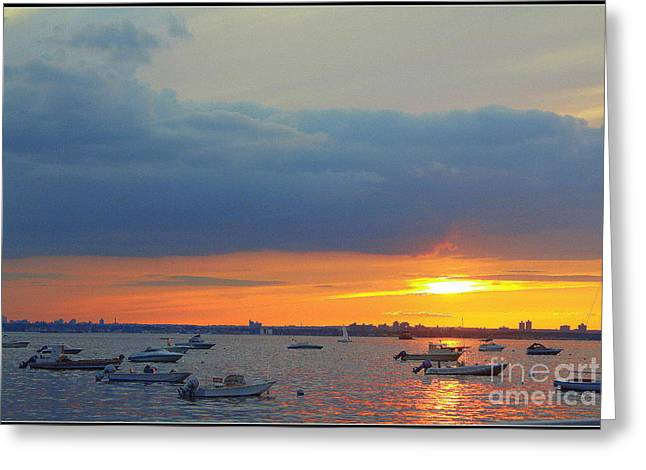 Sunset And Blue Clouds Greeting Card by Dora Sofia Caputo Photographic Art and Design