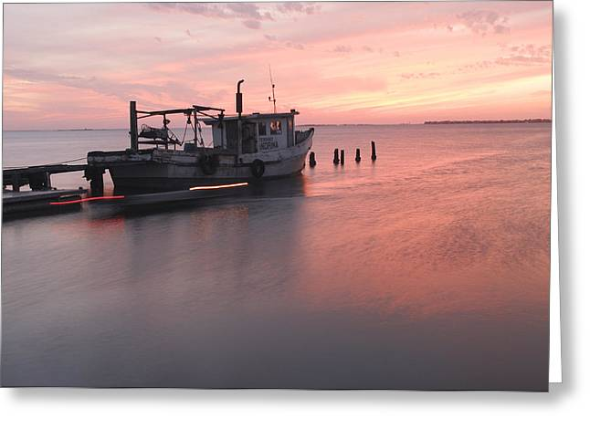 Sunset And Boat Greeting Card by Thanh Nguyen