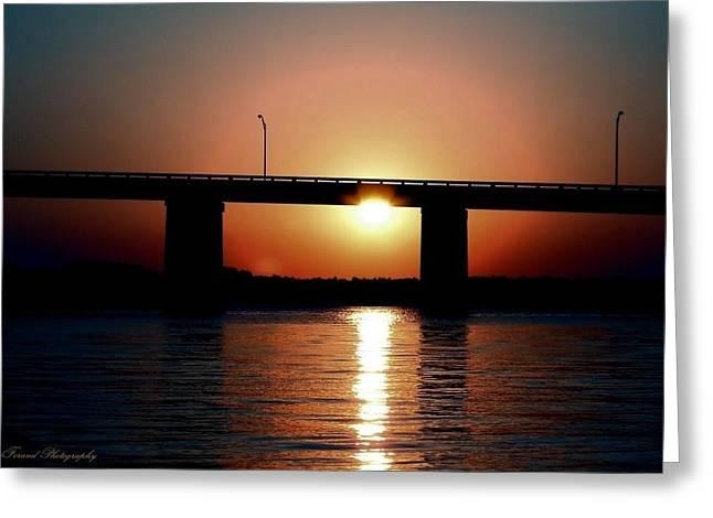 Panama City Beach Greeting Cards - Sunset and Bridge Greeting Card by Debra Forand
