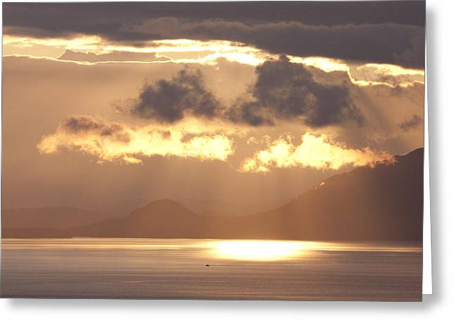 Southeast Alaska Greeting Cards - Sunset And Clouds In Clarence Strait Greeting Card by Chip Porter
