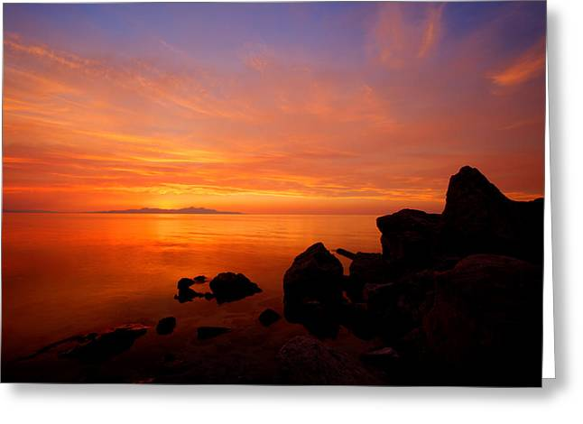 Salt Lake City - Utah Greeting Cards - Sunset and Fire Greeting Card by Chad Dutson