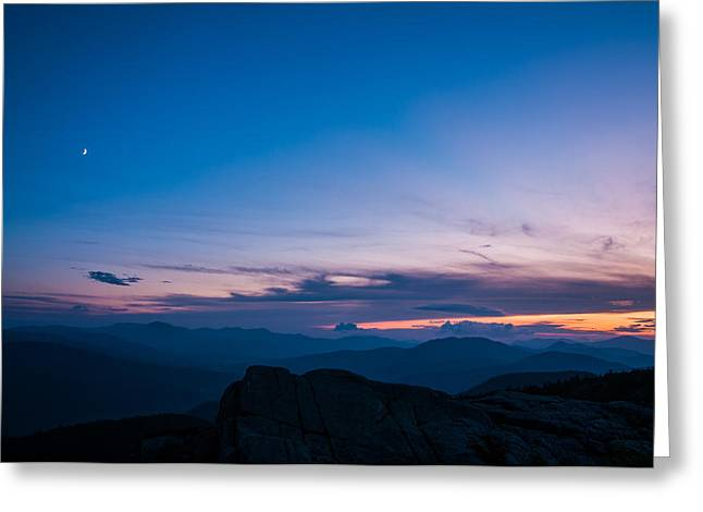 Moat Mountain Greeting Cards - Sunset and Moon from South Moat Greeting Card by Joe Klementovich