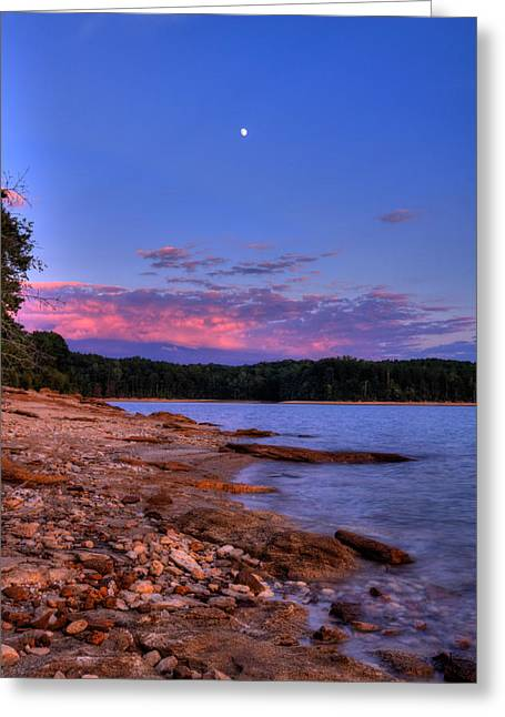 Moonrise Greeting Cards - Sunset and Moonrise by the Water Greeting Card by Kevin Ertel