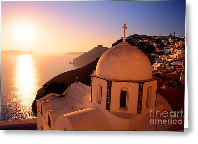 Evening Scenes Greeting Cards - Sunset And Orthodox Church Greeting Card by Aiolos Greek Collections