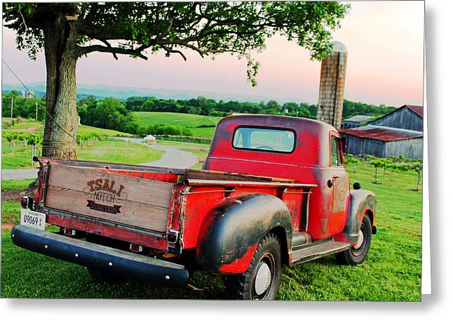 Sweetwater Greeting Cards - Sunset and Red Truck Greeting Card by Michael Byerley