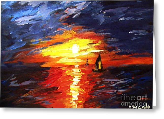 Sunset And Sails Greeting Card by Michael Grubb